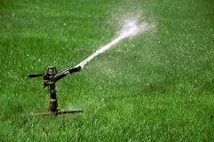 Sprinkler watering field of green grass Stock Photos