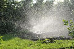 Sprinkler watering grass in garden. twisting water splashes, automatic lawn care, personal irrigation system in townhouse. Sprinkler watering grass in garden stock image