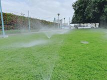 Sprinkler Watering on green grass. On field in cloudy weather royalty free stock photos