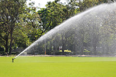 Sprinkler in Watering green lawn of golf courses. Stock Photos
