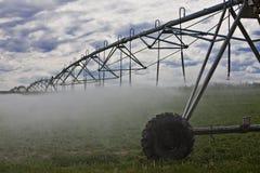 Sprinkler waterring the crops Stock Photos