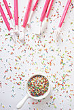 Sprinkles and cake's decoration tools Stock Images