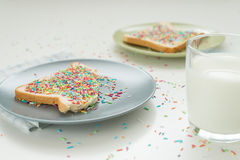 Sprinkles on toasts Royalty Free Stock Images