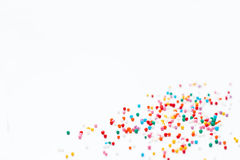 Sprinkles on a white background. Festive background for Valentine`s day, birthday, holiday, party Stock Images