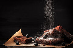 Sprinkling chocolate brownie with icing sugar and blueberry Royalty Free Stock Photos