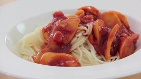 Sprinkling Oregano On Spaghetti. stock video