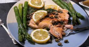 Sprinkling salt over a delicious roasted organic salmon stock footage