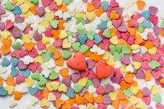 Sprinkls de sucre sous forme de coeurs Photographie stock libre de droits