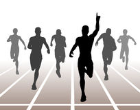 Sprint. Editable  illustration of men finishing a sprint race Royalty Free Stock Images