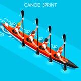 Sprint de kayak ensemble d'icône de quatre jeux d'été Paddler isométrique du canoéiste 3D Course de compétition sportive de kayak Images stock