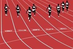Sprint female runners. On tracks of stadium black silhouette stock illustration