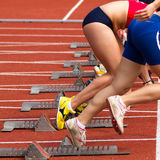 Sprint start in track and field Stock Images