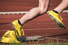 Sprint start. In track and field Stock Images