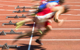 Sprint start in track and field Royalty Free Stock Images