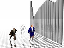 Sprint to success. Man, woman and robot running to success.  3D illustration.  Trying to keep ahead with automation, compete with each other Stock Photo