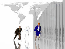 Sprint to success. Man, woman and robot running to success.  3D illustration.  Trying to keep ahead with automation word wide.  World map in background Stock Image