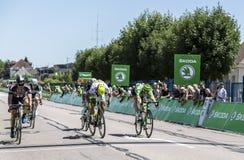 The Sprint - Tour de France 2015. Argentan, France - July 10, 2015: John Degenkolb (Giant Alpecin), Peter Sagan (Tinkoff-Saxo) and Andre Greipel (Lotto-Soudal) Stock Image