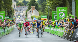 The Sprint - Tour de France 2016. Bouille-Menard,France - July 4, 2016: Marcel Kittel, Peter Sagan, Alexander Kristoff and Mark Cavendish in full effort arrive Royalty Free Stock Images