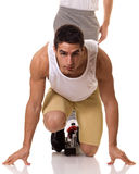 Sprinta för idrottsman nen Arkivbild