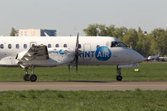 SprintAir Saab 340 aircraft running on the runway Stock Images