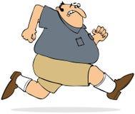 Sprintare grasso dell'uomo Fotografie Stock Libere da Diritti