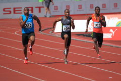 Sprinter in 100 meters race in Prague 2012 Royalty Free Stock Images