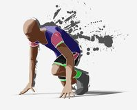 Sprinter. In action, sketch render Stock Photos