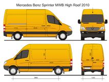 Sprinter Cargo Van MWB High Dak Royalty-vrije Stock Afbeelding