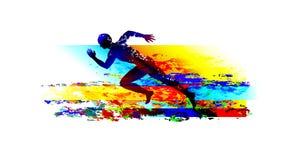 Sprinter corrente dell'uomo sui precedenti colourful strutturati Immagini Stock