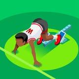 Sprinter-Läufer-Athlet an Anfangszeile Leichtathletik-Rennanfangssommer-Spiel-Ikonen-Satz flacher isometrischer Sport 3D des Leic Lizenzfreies Stockbild