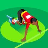 Sprinter-Läufer-Athlet an Anfangszeile Leichtathletik-Rennanfangssommer-Spiel-Ikonen-Satz Flacher isometrischer Sport der olympic Lizenzfreies Stockfoto
