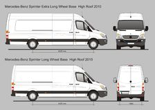Mercedes Sprinter Van LWB and Extra LWB. Sprinter LWB and Extra LWB Van in scale 1:10 Ai - format for use in advertising on transport Royalty Free Stock Photo