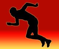 Sprinter maschio posteriore di colore rosso Immagine Stock