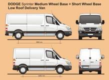 Sprinter MWB de Dodge et la basse livraison Van 2010 de cargaison de toit de SWB Image libre de droits