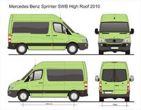 Mercedes Sprinter Van SWB. Sprinter Passenger Van short wheelbase in scale 1:10 Ai - format for use in advertising on transport Royalty Free Stock Photography