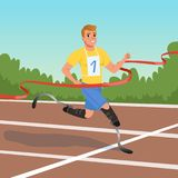 Sprinter with prosthetic legs taking part in running competitions. Athlete with disabilities. Paralympic games. Cartoon. Young sprinter with prosthetic legs Stock Images