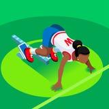 Sprinter Runner Athlete at Starting Line Athletics Race Start Summer Games Icon Set.3D Flat Isometric Sport of Athletics Runner Royalty Free Stock Images