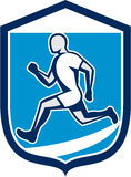 Sprinter Runner Running Shield Retro Stock Photo