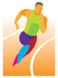 Sprinter runs a distance of 200 meters Stock Image