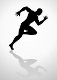 Sprinter. Silhouette illustration of a muscular male figure off to a fast start Stock Images