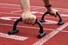Sprinter on start line Stock Images