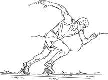 Sprinter starting. Vector - Sprinter in the starting blocks vector illustration