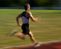 Sprinters. Sprinter in unsharpness in track and field Stock Photo