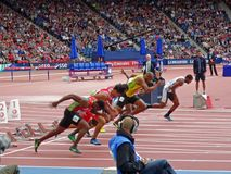 Sprinters. 100m men's heats at commonwealth games Stock Images