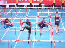 Sprinters. Runners over hurdles during the meeting lightly athletic in Lodz Stock Photography