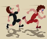 Sprinters sur la voie de course illustration stock
