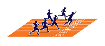 Sprinters The winner on the running track Royalty Free Stock Photos