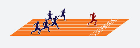 Sprinters The winner on the running track. Sprinters, The winner on the running track graphic vector Stock Images
