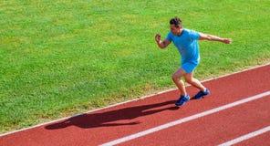 Sprinterutbildning på stadionspåret Löpare som fångas i midair Kort avståndsspringutmaning Ökningshastighet Idrottsman nen royaltyfri bild