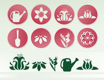 Springtime Garden Icons Royalty Free Stock Images